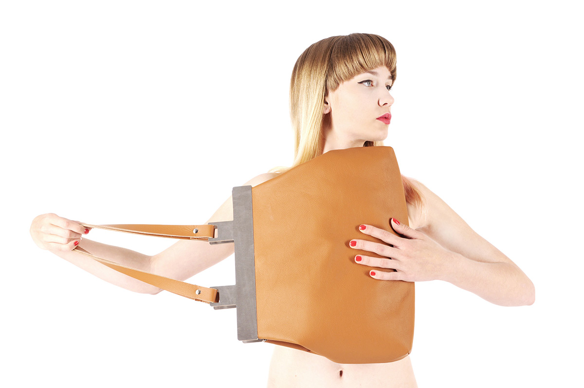 Leather handbag by Hana Coufalova